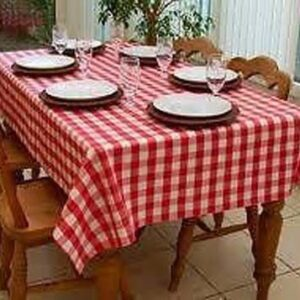 Country Table Cloth TAUPE GINGHAM Tablecloth 180cm ROUND