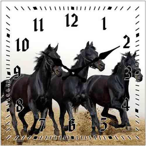 French Country Chic Retro Inspired Wall Clocks 15CM BLACK HORSES New Horse