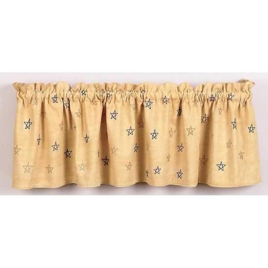 French Country New Curtain Ruffled PRIMITIVE STAR 150x35cm