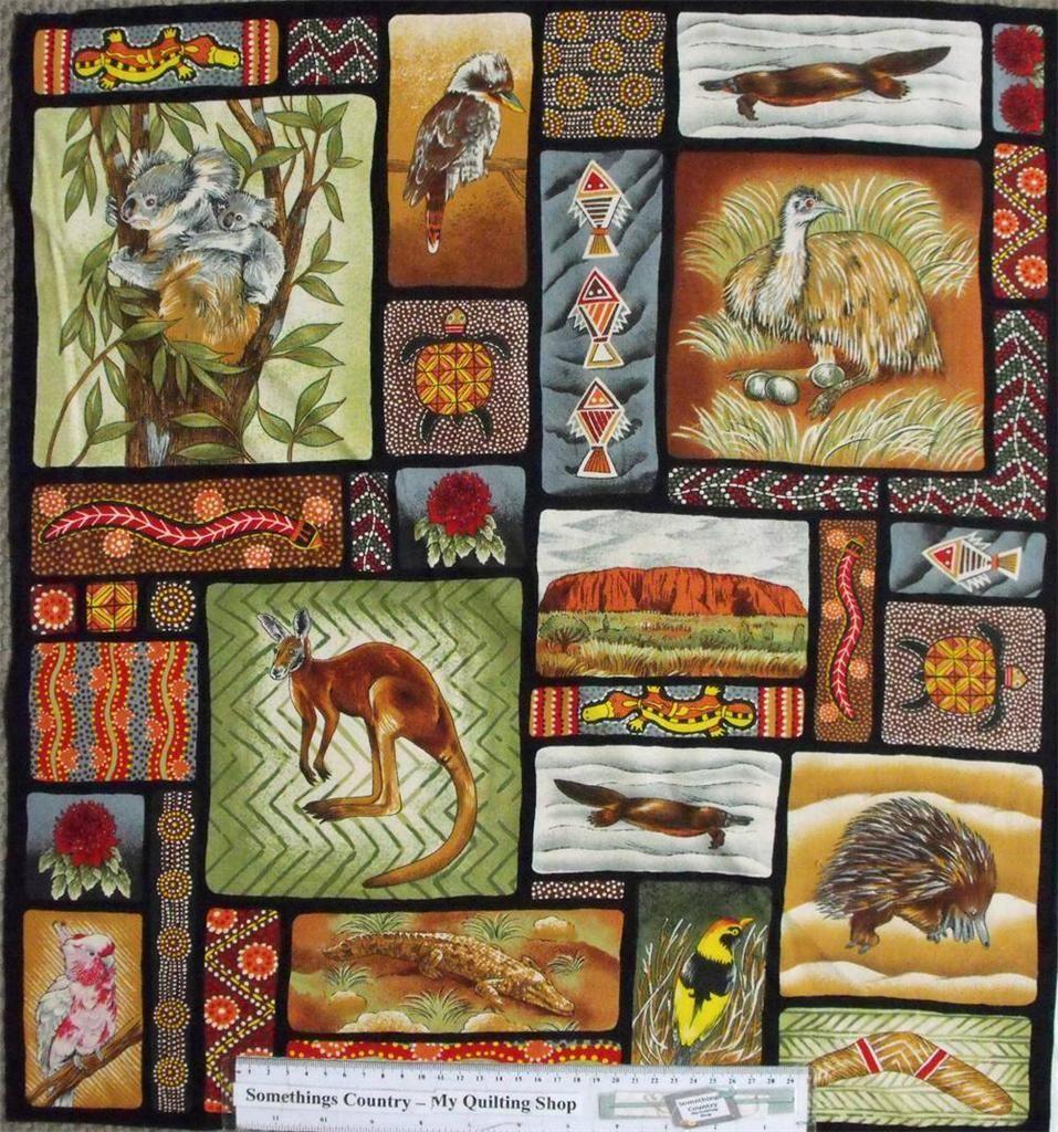 Quilting Patchwork Sew Fabric AUSTRALIAN ABORIGINAL ANIMALS Panel ... : cheap quilting fabric australia - Adamdwight.com