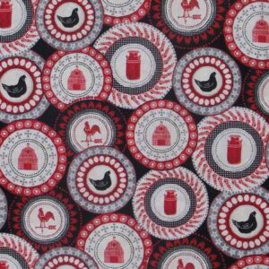 Patchwork Quilting Fabric BLACK RED ROOSTER FARMYARD Sewing Cotton FQ50X55cm NEW