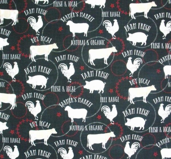 Patchwork Quilting Fabric BLACK ROOSTER FARMYARD COW Sewing Cotton FQ50X55cm NEW