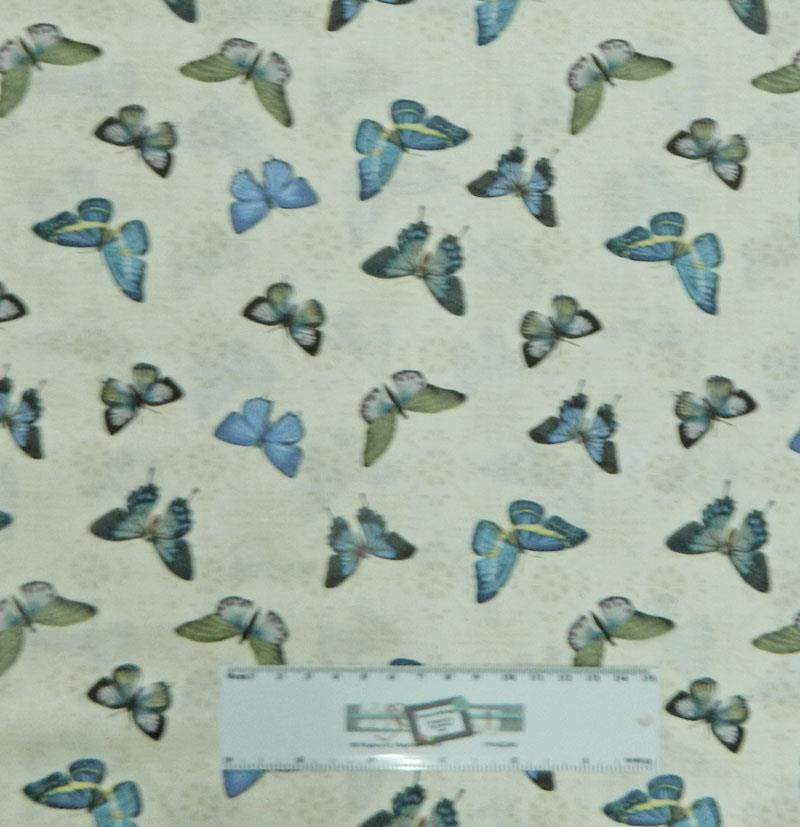 Patchwork quilting fabric blue butterflies sewing material for Cotton sewing material