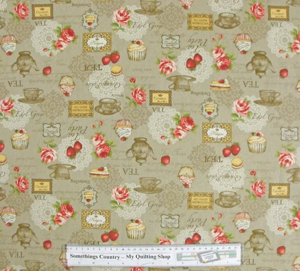 Quilting patchwork sewing fabric kitchen tea beige linen for Cotton sewing material