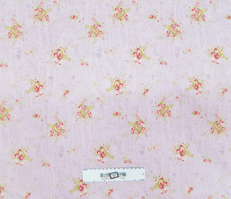 Patchwork quilting sewing fabric lilac floral material for Cotton sewing material