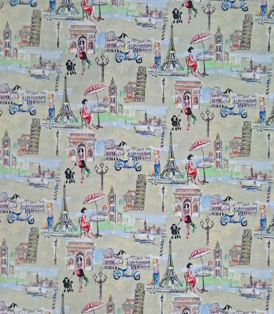 Patchwork quilting sewing fabric london rome paris travel