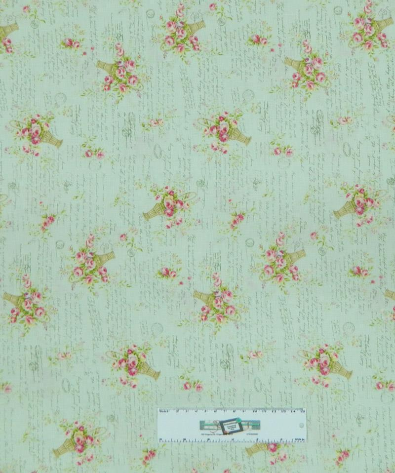 Patchwork quilting fabric mint green floral sewing for Cotton sewing material