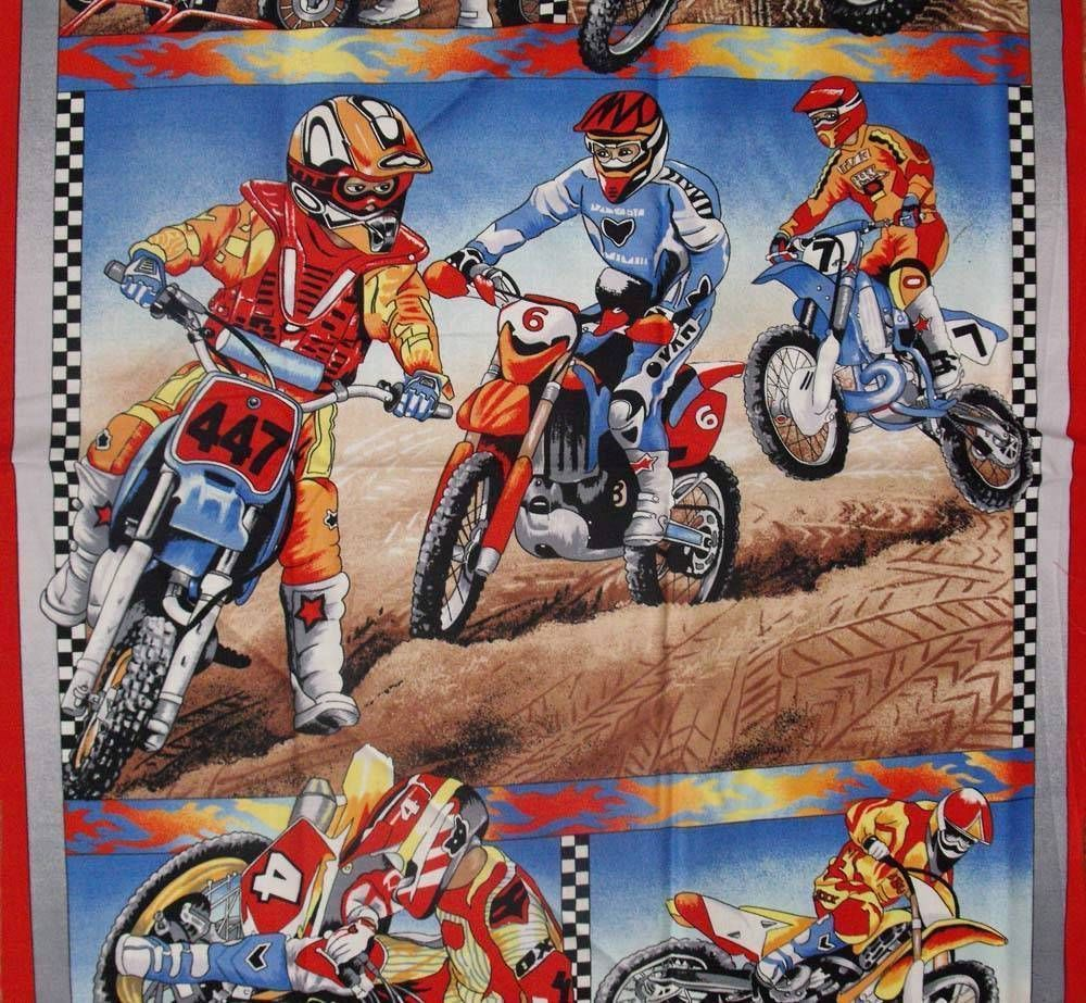 Quilting Patchwork Sewing Fabric Motocross Motorbike