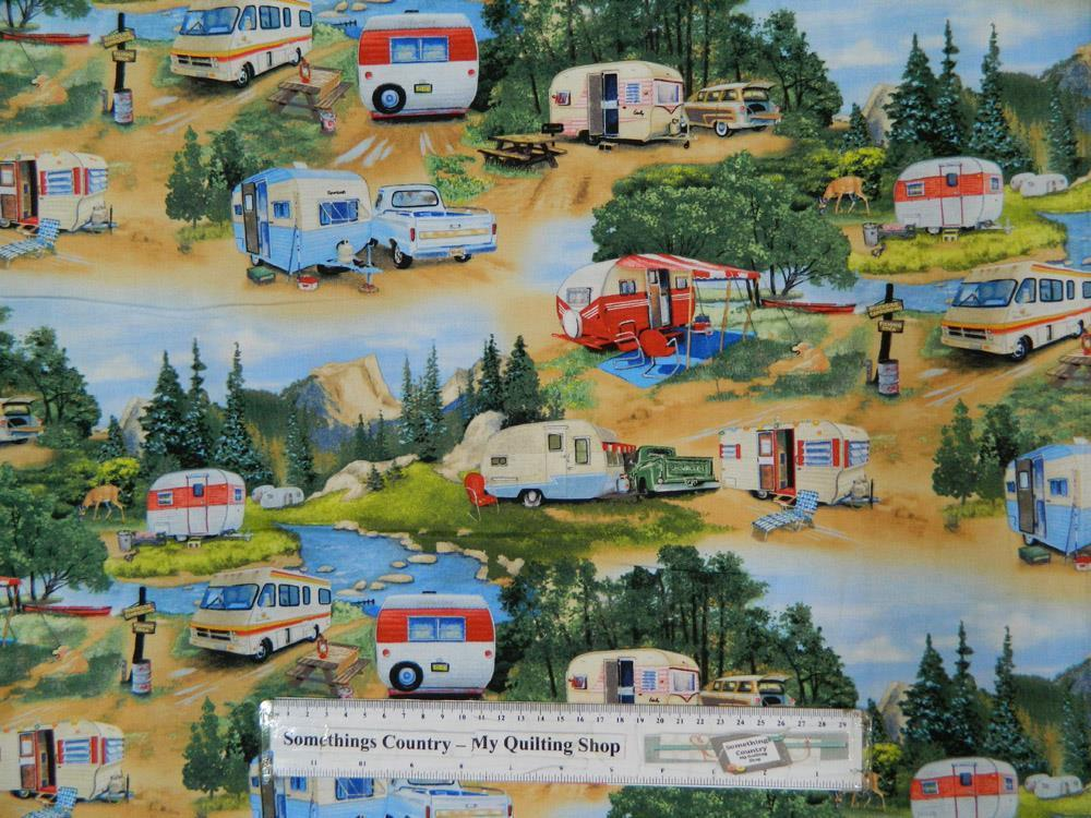 Patchwork Quilting Sewing Fabric Vintage Caravan Trailer