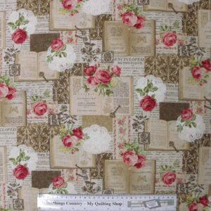 Quilting Patchwork Sewing Fabric ROSES BEIGE BOOK CHIC Material 50X55cm FQ New