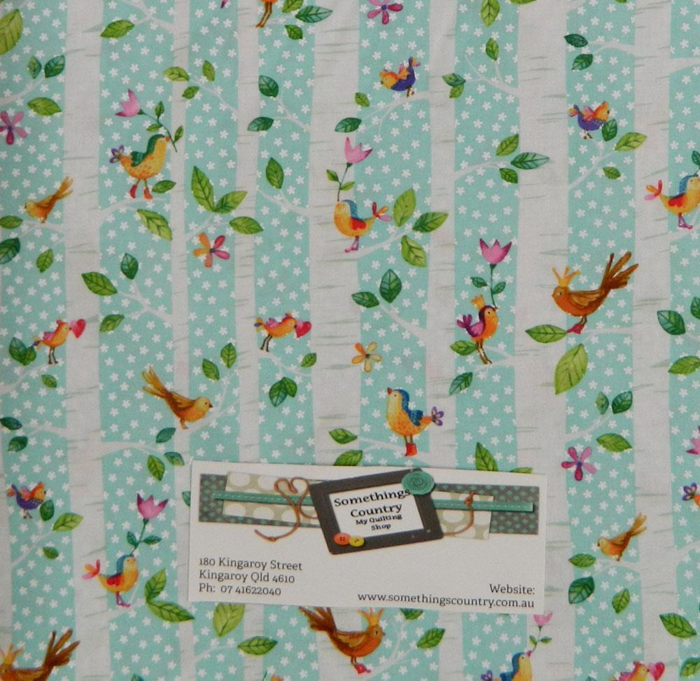 Patchwork quilting fabric trees birds blue material for Cotton quilting fabric