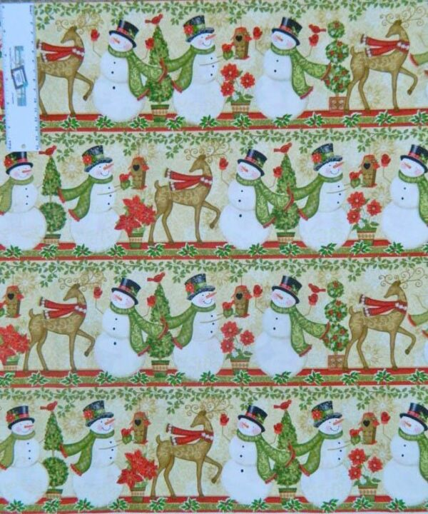 Patchwork Quilting Fabric XMAS SNOWMAN WINTER BORDER Sewing Cotton FQ50X55cm NEW