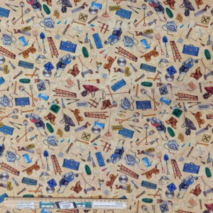 Quilting Patchwork Fabric Handyman Tools Allover 50x55cm FQ